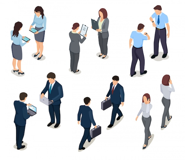 Uomini d'affari isometrici. uomini e donne 3d. folla di persone. imprenditore e imprenditrice. caratteri vettoriali in abiti da ufficio
