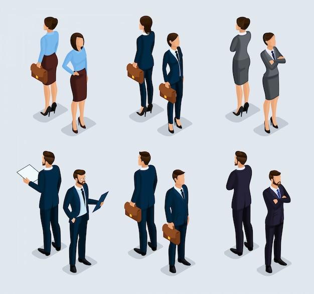 Uomini d'affari isometrici, uomini e donne in giacca e cravatta