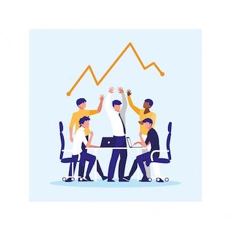 Uomini d'affari nell'ufficio di lavoro, incontro sulla pianificazione globale e ricerche di mercato