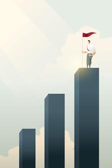Uomini d'affari orgogliosi con bandiera in piedi sul grafico a barre superiore degli obiettivi.