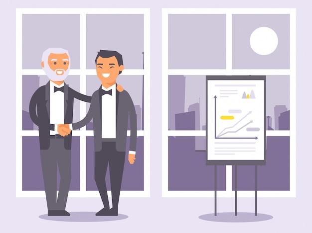 Uomini d'affari piani della gente in vestiti neri convenzionali che stringono l'illustrazione delle mani.