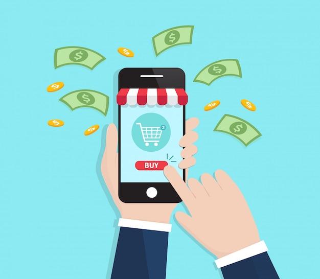 Uomini d'affari shopping online con smartphone.