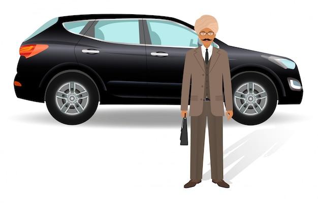 Uomini d'affari . uomo d'affari indiano che sta su un'automobile di lusso.