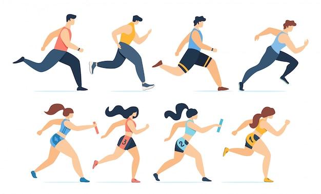 Uomini del fumetto che pareggiano e donne che corrono insieme di maratona