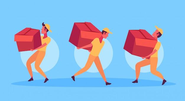 Uomini di corriere che trasportano scatola consegna pacchetto concetto di servizio postini che lavorano insieme
