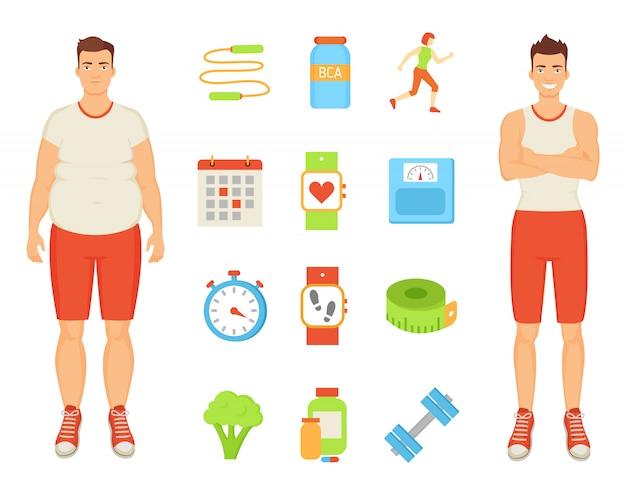Uomini di dieta e di sport con l'illustrazione degli elementi