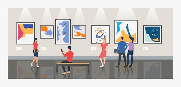 Uomini e donne che visitano l'illustrazione della galleria di arte o del museo