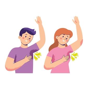 Uomini e donne hanno problemi di odore corporeo sotto le ascelle