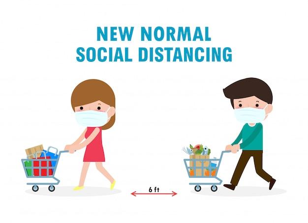 Uomini e donne in maschere mediche che comprano generi alimentari in supermercato concetto di distanziamento sociale grande magazzino nel nuovo concetto shoping normale di stile di vita. evitare di diffondere la malattia di covid-19.
