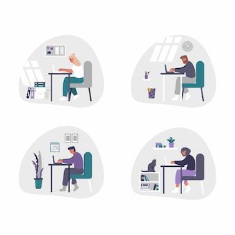 Uomini e donne indipendenti e di affari che lavorano dalla casa - illustrazione di concetto del ministero degli interni. uomini e donne sono stanchi, annoiati e si addormentano alla scrivania con il laptop.
