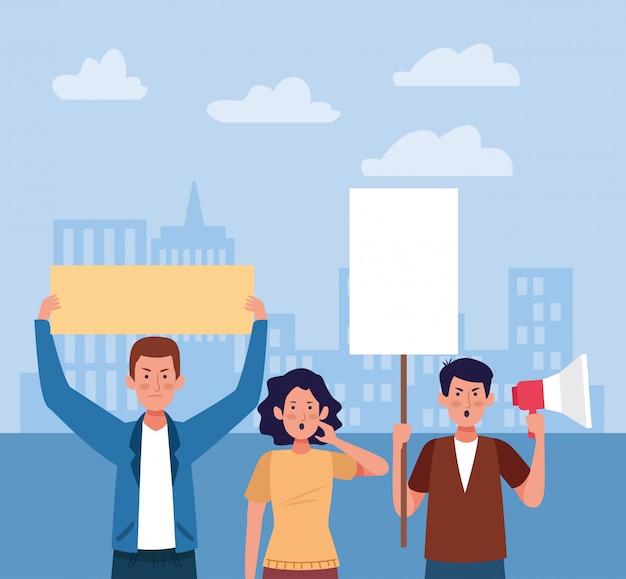 Uomini e donne protestano
