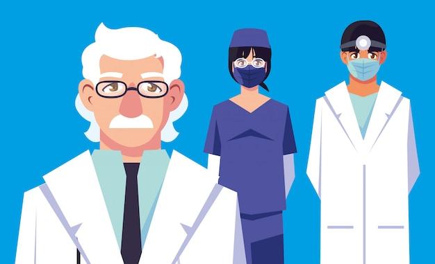 Uomini e dottori donna con uniformi e maschere disegno vettoriale