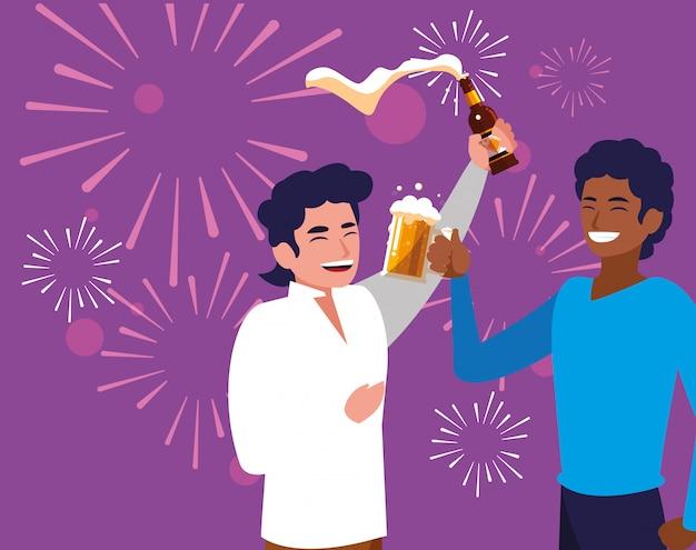 Uomini felice festeggia il personaggio avatar partito