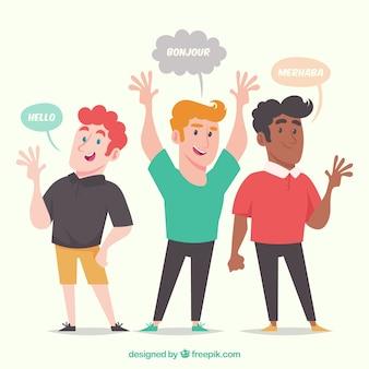 Uomini felici che parlano lingue diverse con design piatto