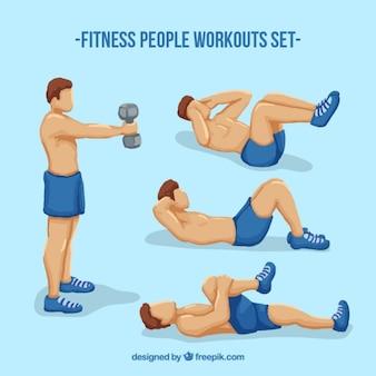 Uomini fitness allenamenti insieme