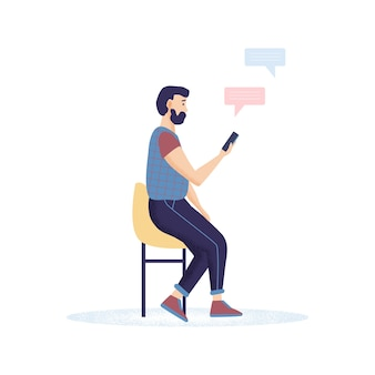 Uomini hipster con la barba che tiene smartphone in chat, sms e parlare.