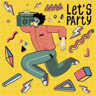 Uomini in abiti stile anni ottanta ballando festa in discoteca retrò