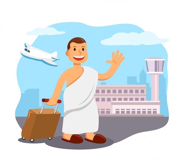 Uomini in aeroporto pronti per un viaggio di pellegrinaggio alla mecca.