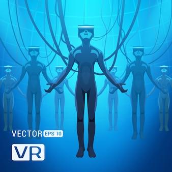 Uomini in un elmetto di realtà virtuale. le figure futuristiche dei maschi in cuffie di vr contro il fondo astratto blu