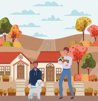 Uomini interrazziali con mascotte di cani svegli nella scena della città di autunno