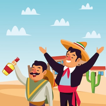 Uomini messicani dei cartoni animati