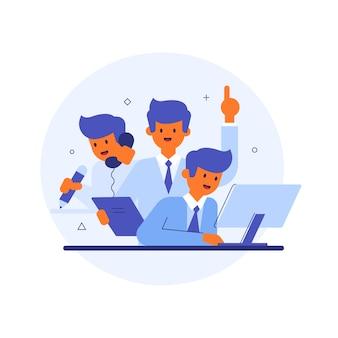 Uomini multitasking con computer e telefono