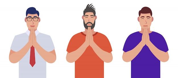 Uomini negli occhi chiusi che pregano insieme le mani. gli uomini pregano. set di caratteri.