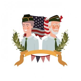 Uomini soldati di guerra con la bandiera degli stati uniti