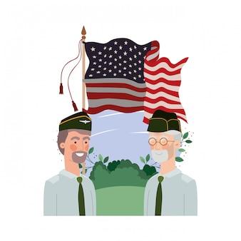 Uomini soldati di guerra con la bandiera del paesaggio e degli stati uniti