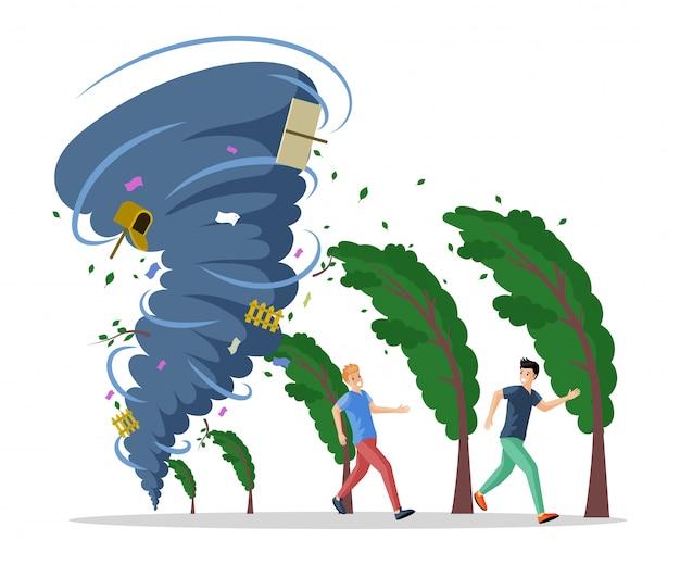 Uomini spaventati che corrono dall'illustrazione piana di uragano. disastro naturale, torsione del tornado