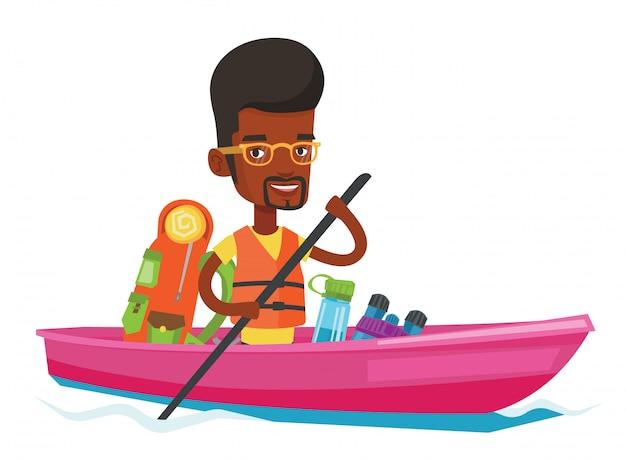 Uomo a cavallo in kayak.