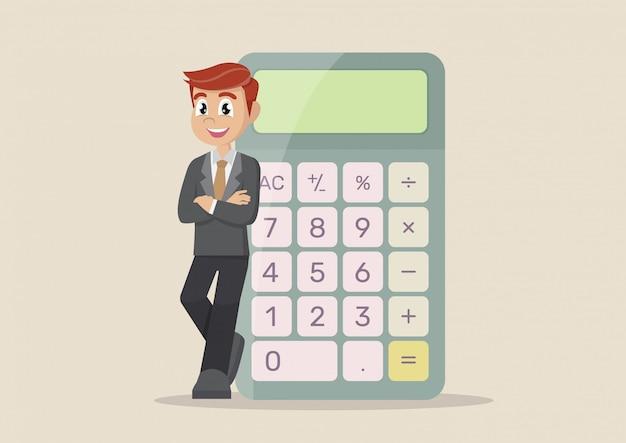 Uomo affari, calcolatrice