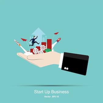 Uomo affari, correndo, grafico