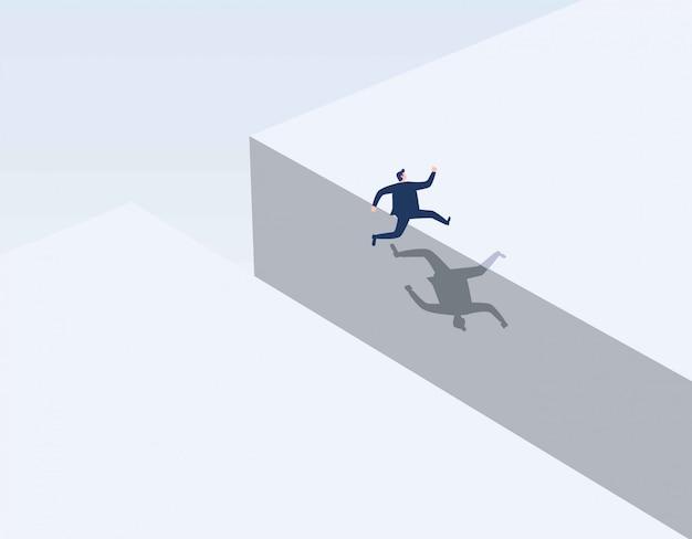 Uomo affari, saltando, spacco
