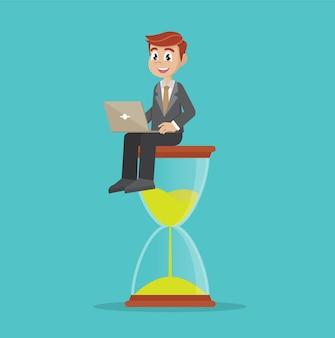 Uomo affari, seduta, clessidra