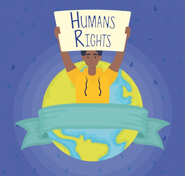 Uomo afro con etichetta dei diritti umani e progettazione dell'illustrazione di vettore del pianeta del mondo