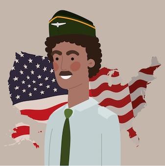Uomo afro militare con mappa e bandiera usa