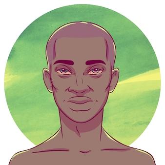 Uomo afroamericano con la testa calva su uno sfondo di cerchi acquerello