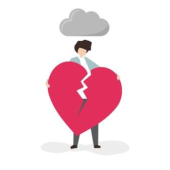 Uomo aggrappato a un cuore spezzato