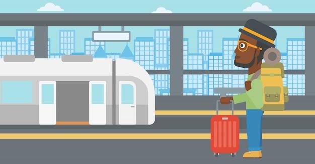 Uomo all'illustrazione di vettore della stazione ferroviaria.