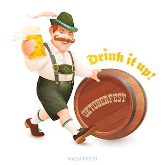 Uomo allegro in abito bavarese cammina alla festa dell'oktoberfest. l'amante della birra porta un boccale di birra e spinge un barile di legno.