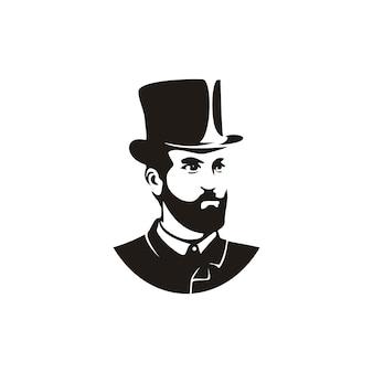 Uomo americano d'annata con l'illustrazione del cappello