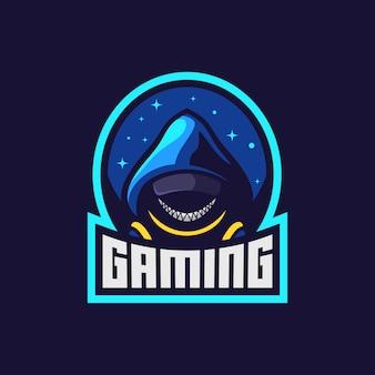 Uomo anonimo con maschera da sorriso gioco logo design