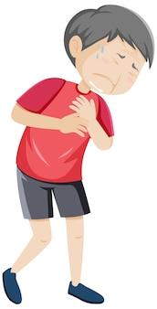 Uomo anziano che ha dolore al petto