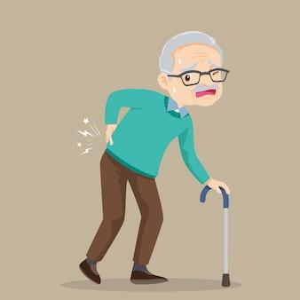 Uomo anziano che soffre di mal di schiena