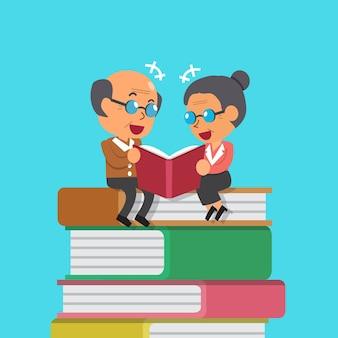 Uomo anziano del fumetto e libro di lettura della donna anziana