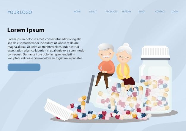 Uomo anziano e donna anziana con assistenza sanitaria bottiglia di medicina