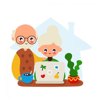 Uomo anziano e donna sorridenti felici svegli ad uno scrittorio con il computer portatile e il gatto. disegno dell'icona di stile piano di disegno a mano.