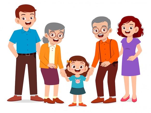 Uomo anziano e donna svegli felici con la famiglia insieme