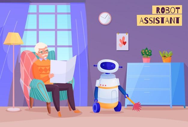 Uomo anziano in sedia durante la lettura e assistente del robot nell'illustrazione interna domestica